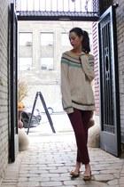 free people sweater - ankle skinny BDG jeans - lauren ralph lauren flats