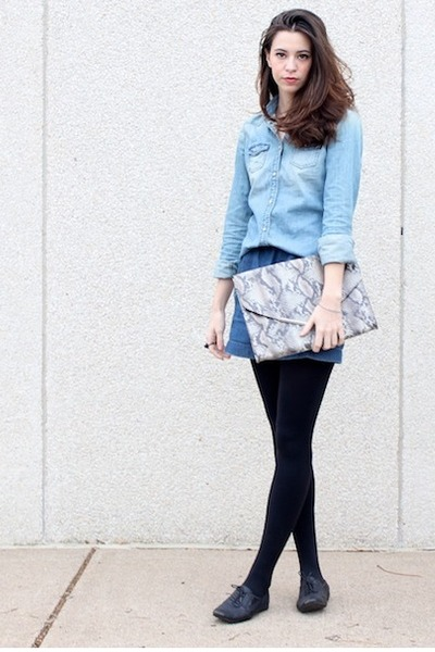 blue denim mini Club Monaco skirt - sky blue American Eagle shirt