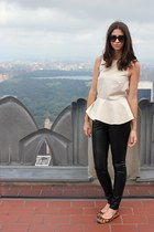 off white peplum Hackwith Design House shirt - black cat eye Target sunglasses