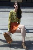 yellow bcbg max azria shirt - light brown Forever 21 boots - brown Aldo bag