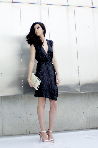 black sequin wrap Michael Michael Kors dress