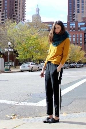 teal faux fur Express scarf - black lace up oxfords Aldo shoes