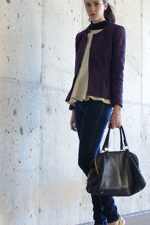 deep purple tweed ruffle Theory jacket - navy Cheap Monday jeans