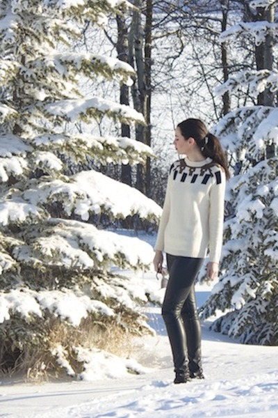 black faux leather H&M pants - ivory MNG by Mango sweater