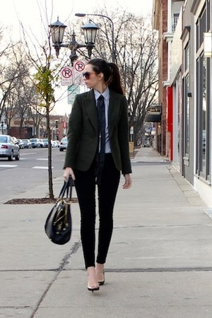 black JCrew bag - army green structured Loft blazer - navy Target shirt