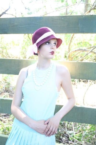 light blue thrifted vintage dress - pink bowler hat thrifted vintage hat