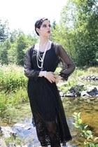 thrifted vintage dress - thrifted vintage dress - thrifted vintage necklace