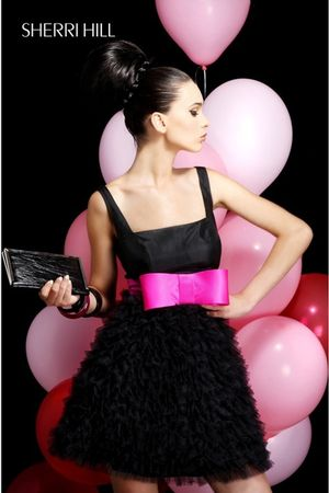 black Sherri Hill bag - black Sherri Hill dress - pink Sherri Hill belt