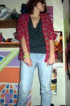 pink shirt - green riller and fount dress - blue Levis jeans - green bracelet -