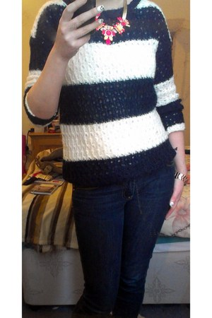 navy denim Primark jeans - navy stripes Primark jumper