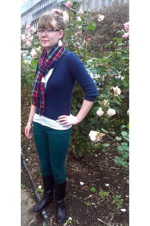 tartan Primark scarf - new look boots - color block Primark jeans - Primark top