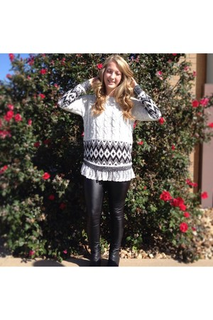 white Accessorize sweater - forest green Forever 21 boots