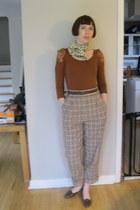 dark brown thrifted vintage shoes - cream polka dot silk thrifted vintage scarf