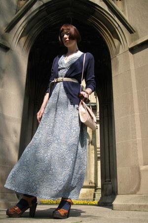 blue H&M dress - light pink H&M bag - navy Valentino sunglasses - beige thrifted