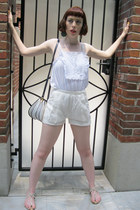 navy details thrifted vintage bag - eyelet lace H&M Conscious Collection shorts