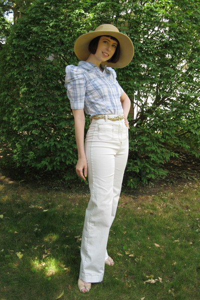 dark khaki straw hat joe fresh style hat - gold braided H&amp;M belt - periwinkle H&amp;
