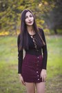 Black-ankle-boots-h-m-boots-maroon-corduroy-skirt-brandy-melville-skirt