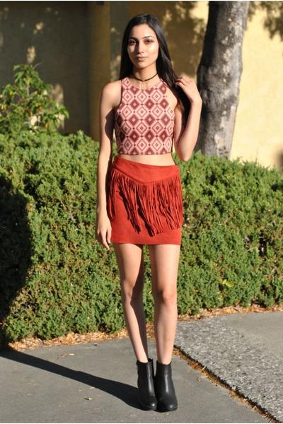 orange Forever 21 top - black H&M boots - carrot orange suede Forever 21 skirt