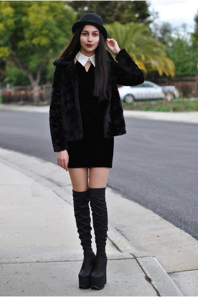 black platform YRU boots - black velvet vintage dress - black fur H&M coat