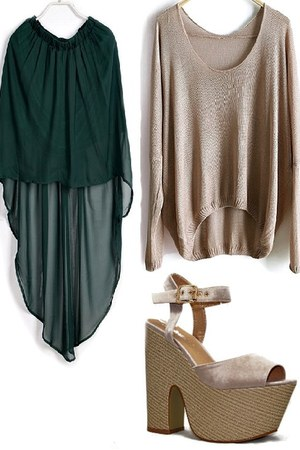 beige sweater - dark green long skirt - tan demi wedge heels