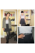 black Topshop skirt - black ankle boots new look boots