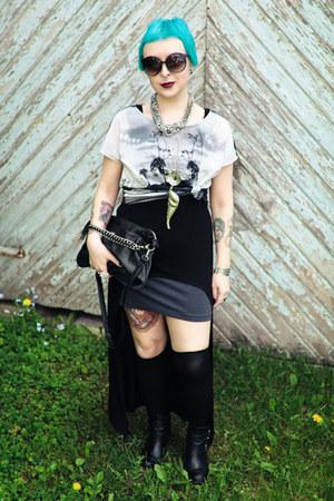 GINA TRICOT top - black hi-low asos top - charcoal gray H&M skirt