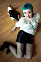 black Bianco boots - black H&M tights - black GINA TRICOT shorts