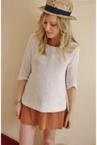 orange polka dot Topshop dress - white Topshop jumper