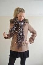 mustard leopard print Accessorize scarf - camel faux fur collar Primark coat