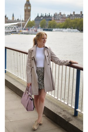dark gray Topshop skirt - nude mac Primark coat - white Topshop top