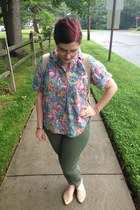 periwinkle thrifted vintage blouse - yellow TOMS bag - green Gap pants