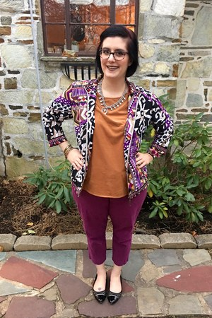 silver Fashnvictmboutique necklace - purple thrifted jacket