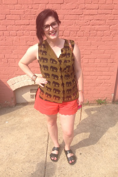 hot pink Rebecca Minkoff bag - carrot orange Anthropologie shorts