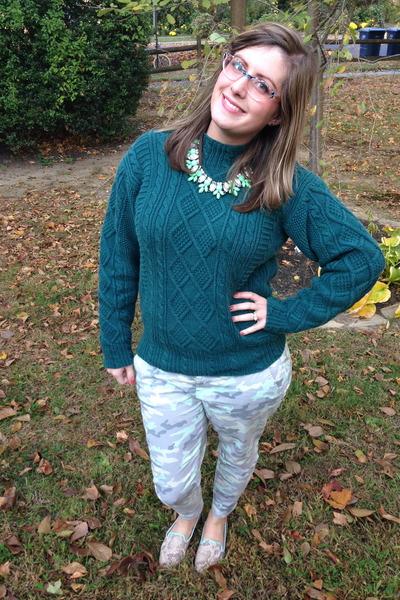 sky blue Gap pants - teal thrifted sweater - peach kensie glasses