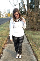 black firmoo glasses - white thrifted blouse - black baublebar necklace