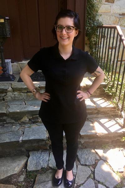 black Marc by Marc Jacobs glasses - black Walmart pants - black Walmart top