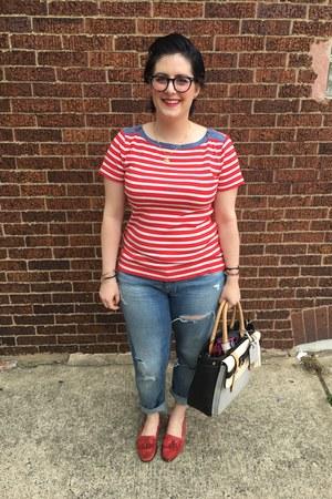 red Ralph Lauren top - sky blue H&M jeans - silver Reed x Kohls bag