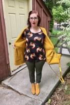 black LuLaRoe top - mustard Amazon boots - yellow 31 Phillip Lim x Target bag