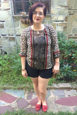 red thrifted loafers - black Gap shorts - gold charming charlies necklace