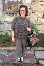 Charcoal-gray-vintage-sweater-brown-reed-x-kohls-bag