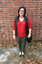 black zenni optical glasses - navy Loft vest - red Old Navy top