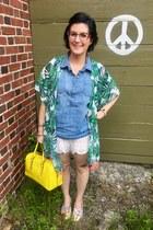 green Walmart cardigan - yellow kate spade bag