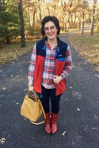 red vintage boots - yellow Who What Wear bag - red Patagonia vest