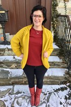 gold Tobi cardigan - maroon vintage boots - silver Hunt & Orchard necklace