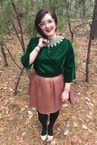 gold BonLook glasses - army green vintage blouse - salmon Stella & Dot necklace