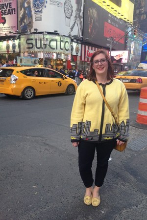yellow vintage sweater - black zenni optical glasses - black Anthropologie pants