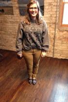 heather gray vintage sweater - brown Rebecca Minkoff bag