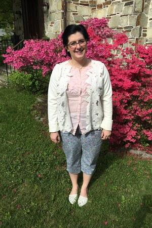 white Anthropologie jacket - white Kendra Scott necklace - light pink Gap top