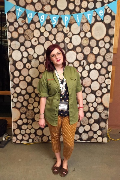army green vintage from etsy top - navy Gap top - camel Jean Lafont glasses