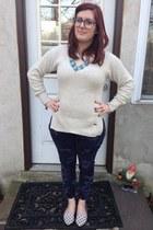 sky blue Ebay necklace - ivory TOMS for Target sweater